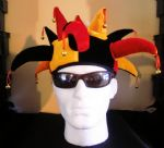 JESTER HAT : RED GOLD & BLACK